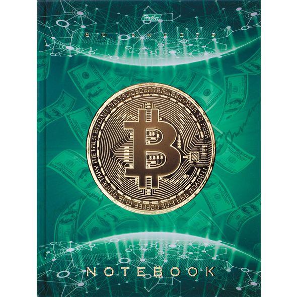"""Бизнес-блокнот А5 80л Хатбер 3D фольга """"Bitcoin"""" 5цв. блок"""