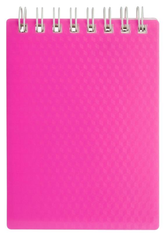 """Блокнот А6 80л Хатбер гр. """"Diamond Neon"""" розовый пласт.обл."""