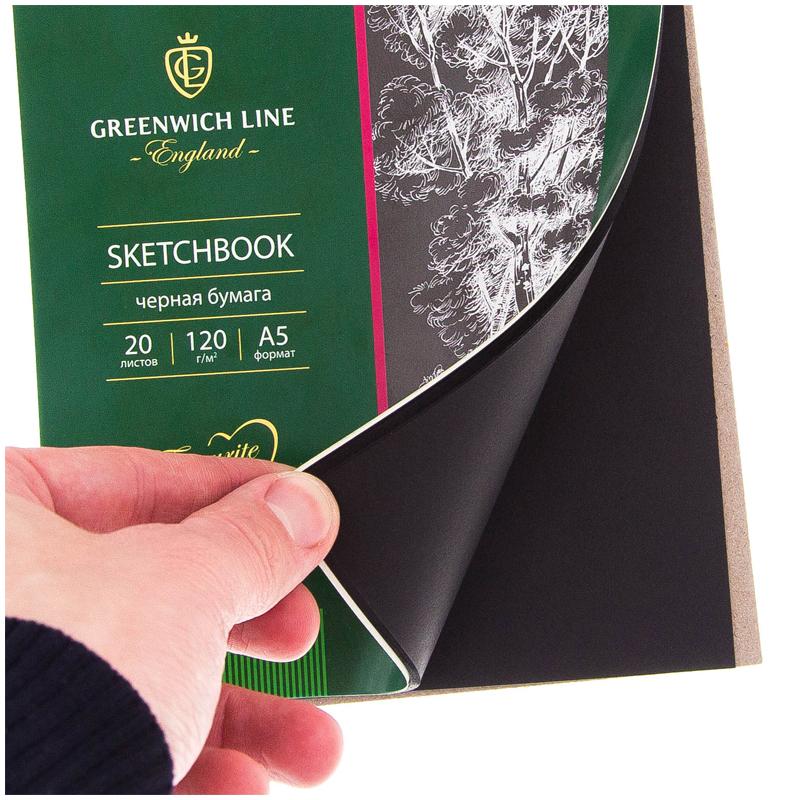 Скетчбук А5 20л гр. Greenwich Line черн. бумага 120г/м2