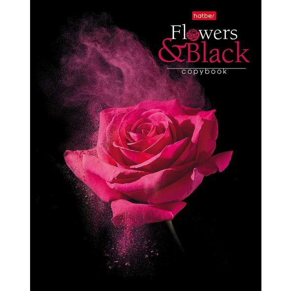 """Тетр. 80л Хатбер мат.лам. """"Flower on black"""""""