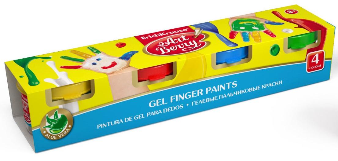 Краски пальчиковые 4цв.х35мл ErichKrause ArtBerry гелевые с Алоэ Вера