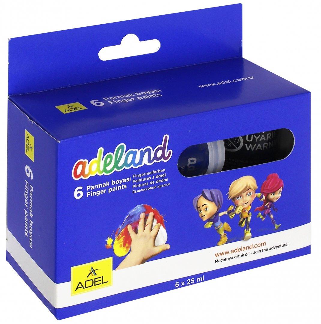 Краски пальчиковые 6цв. Adel Adeland европодвес