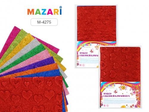 Цвет.бумага А4 Mazari 10л 10цв. рельефная с блестками