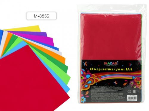 Цвет.бумага А4 Mazari 10л 10цв. толщина 1мм