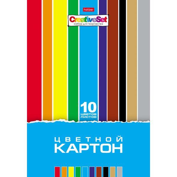 """Цвет.картон А4 Хатбер 10л 10цв в папке """"Creative Set"""" мелованный"""