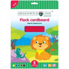 Цвет.картон бархатный А4 Greenwich Line  5л 5цв