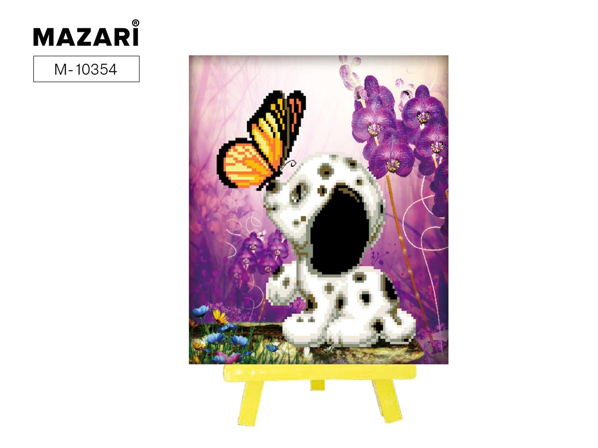 Алмазная мозаика+мольберт 21*25см Долматинец с бабочкой