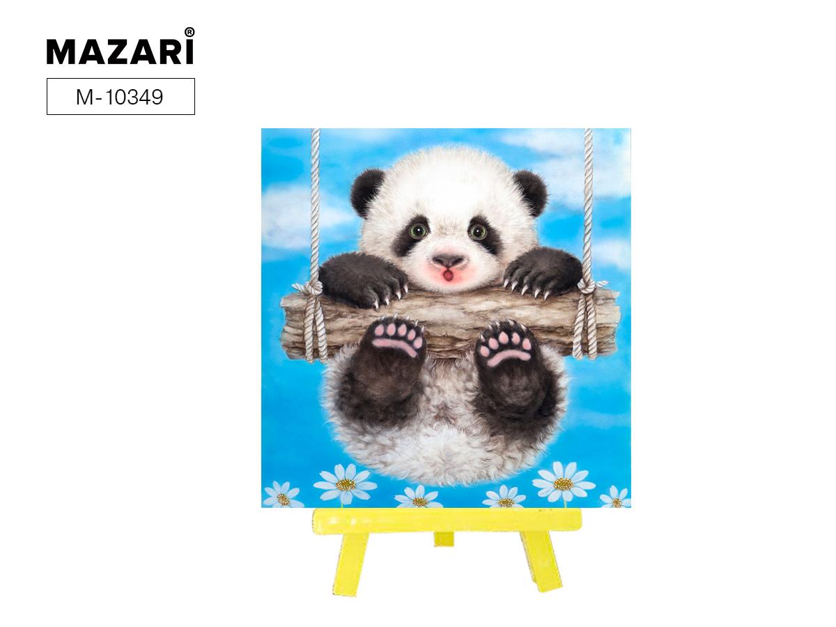 Алмазная мозаика+мольберт 21*25см Панда на качелях