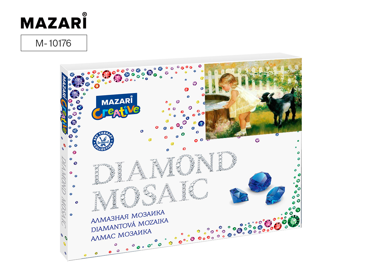 Алмазная мозаика 40*50см Малышка и козленок