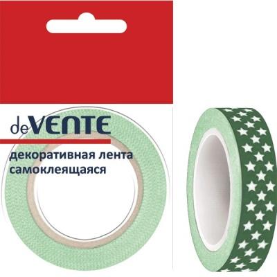 Клейкая лента д/декора deVENTE Зелён. с бел. звёздами 10мм*5м