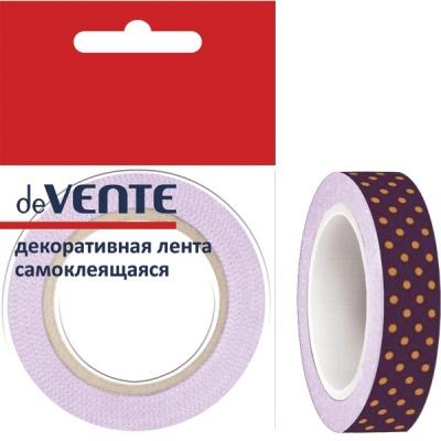 Клейкая лента д/декора deVENTE Фиолет. в оранж. горошек 15мм*5м