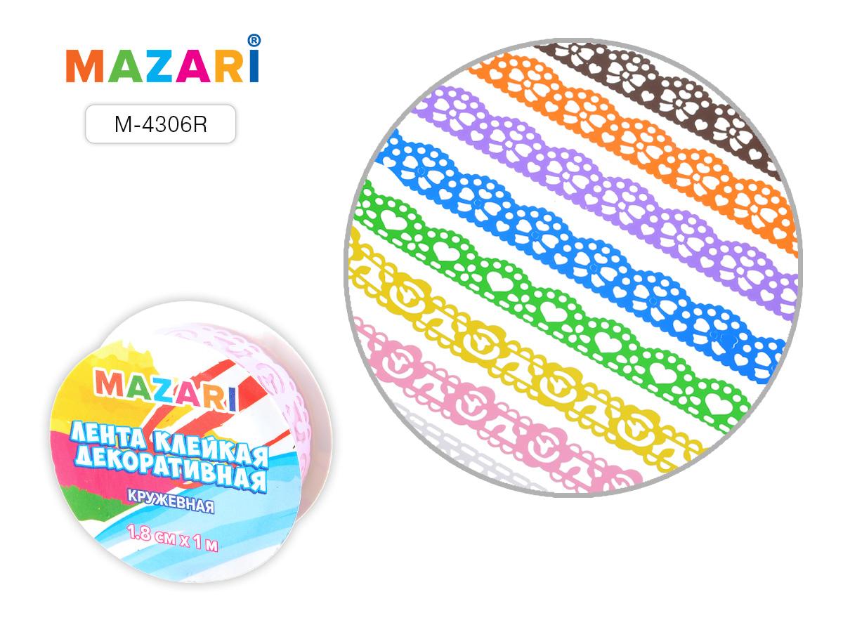 Клейкая лента д/декора Mazari 1,8см*1м кружевная микс