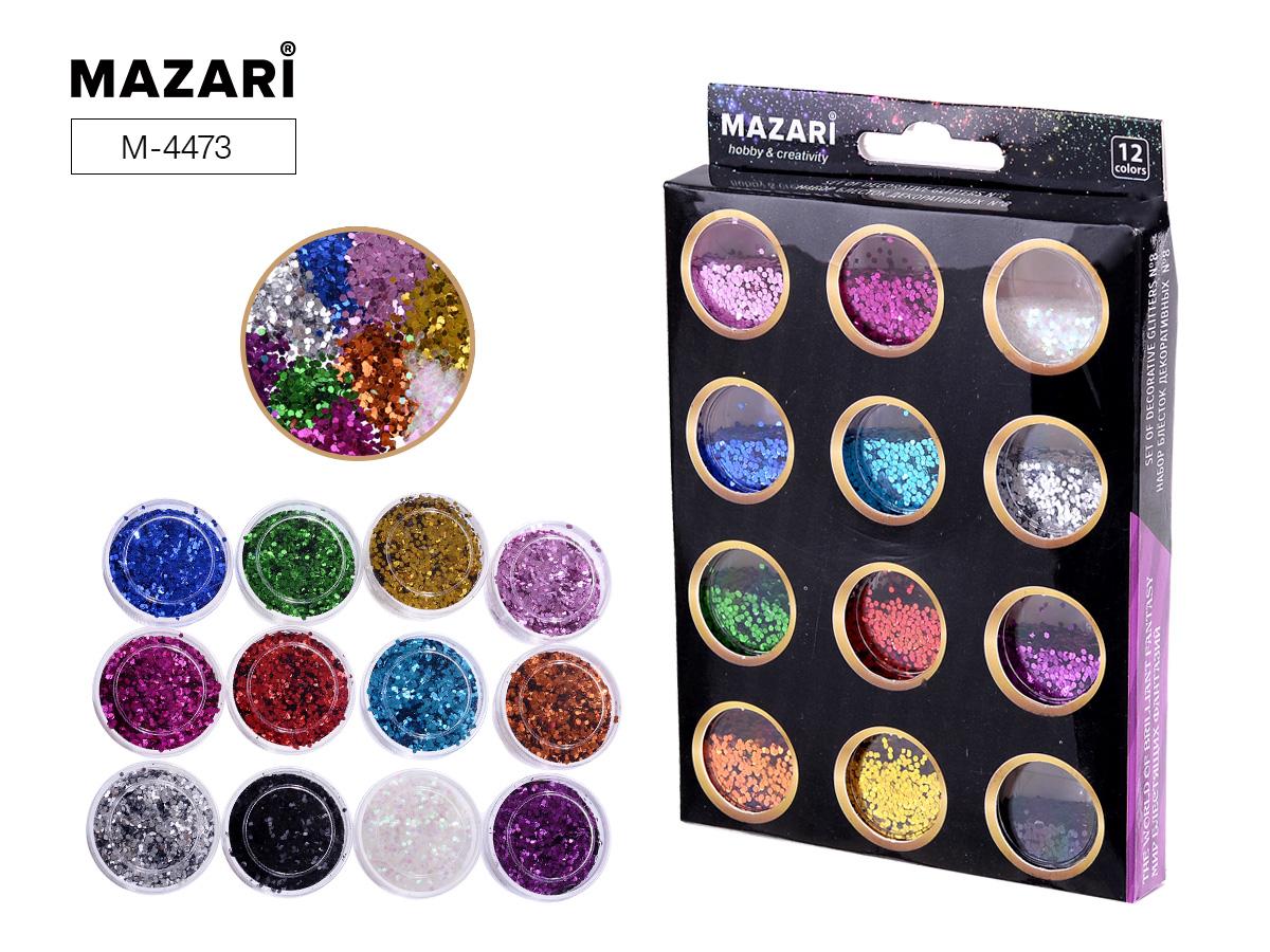 Набор блестки Mazari 12цв.х4 г №8 карт.коробка