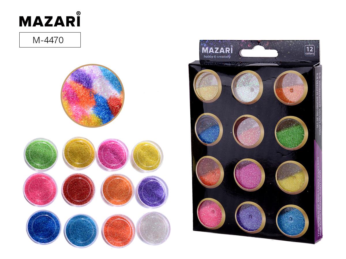 Набор блестки Mazari 12цв.х5.6 г №6 карт.коробка