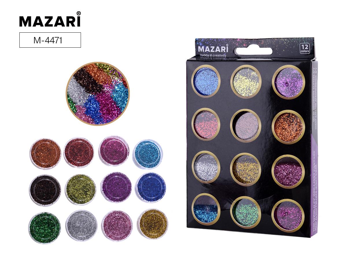 Набор блестки Mazari 12цв.х5.6 г №7 карт.коробка