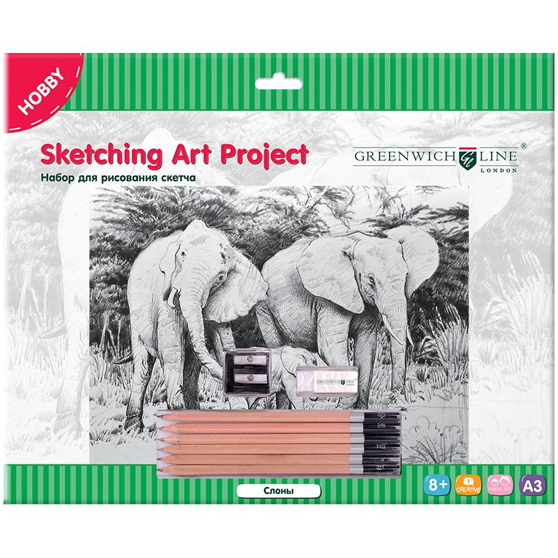 """Набор для рис. скетча Greenwich Line А3 """"Слоны"""" карандаши, ластик, точилка, картон"""