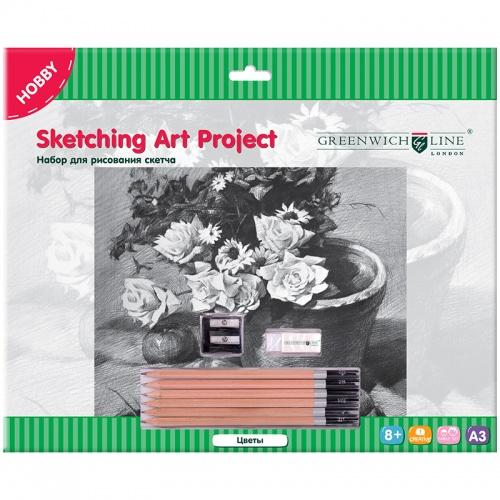 """Набор для рис. скетча Greenwich Line А3 """"Цветы"""" карандаши, ластик, точилка, картон"""