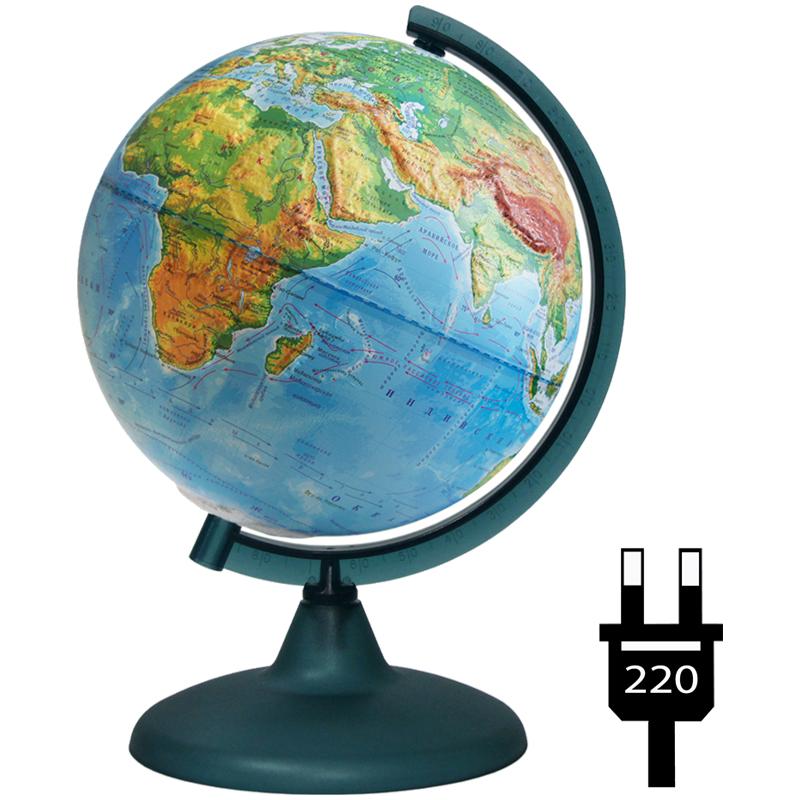 Глобус физический 210мм рельефный на круглой подставке