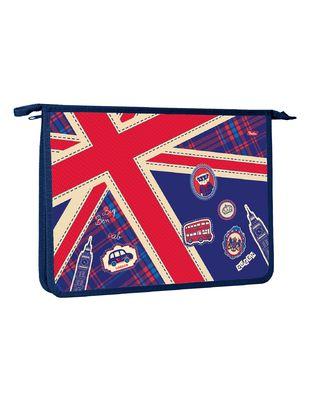 """Папка д/тетр. А4 Хатбер на молнии 1отд. """"Британский флаг"""""""