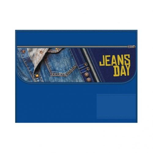 """Папка д/труда А4 Пчелка раскл. на липучке """"Jeans day"""""""