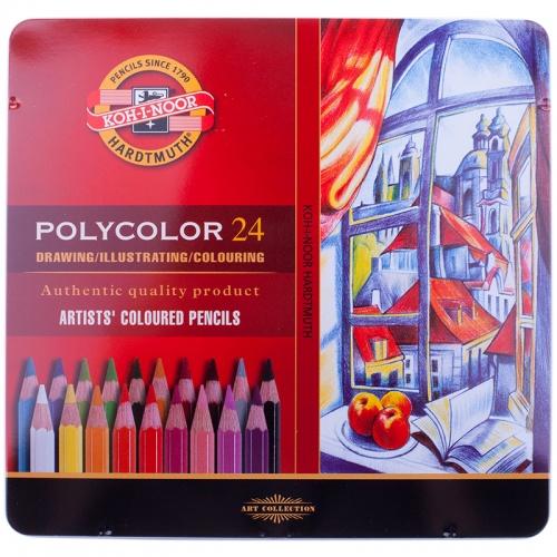 Карандаши художест. PolyColor 24цв. мет.пенал