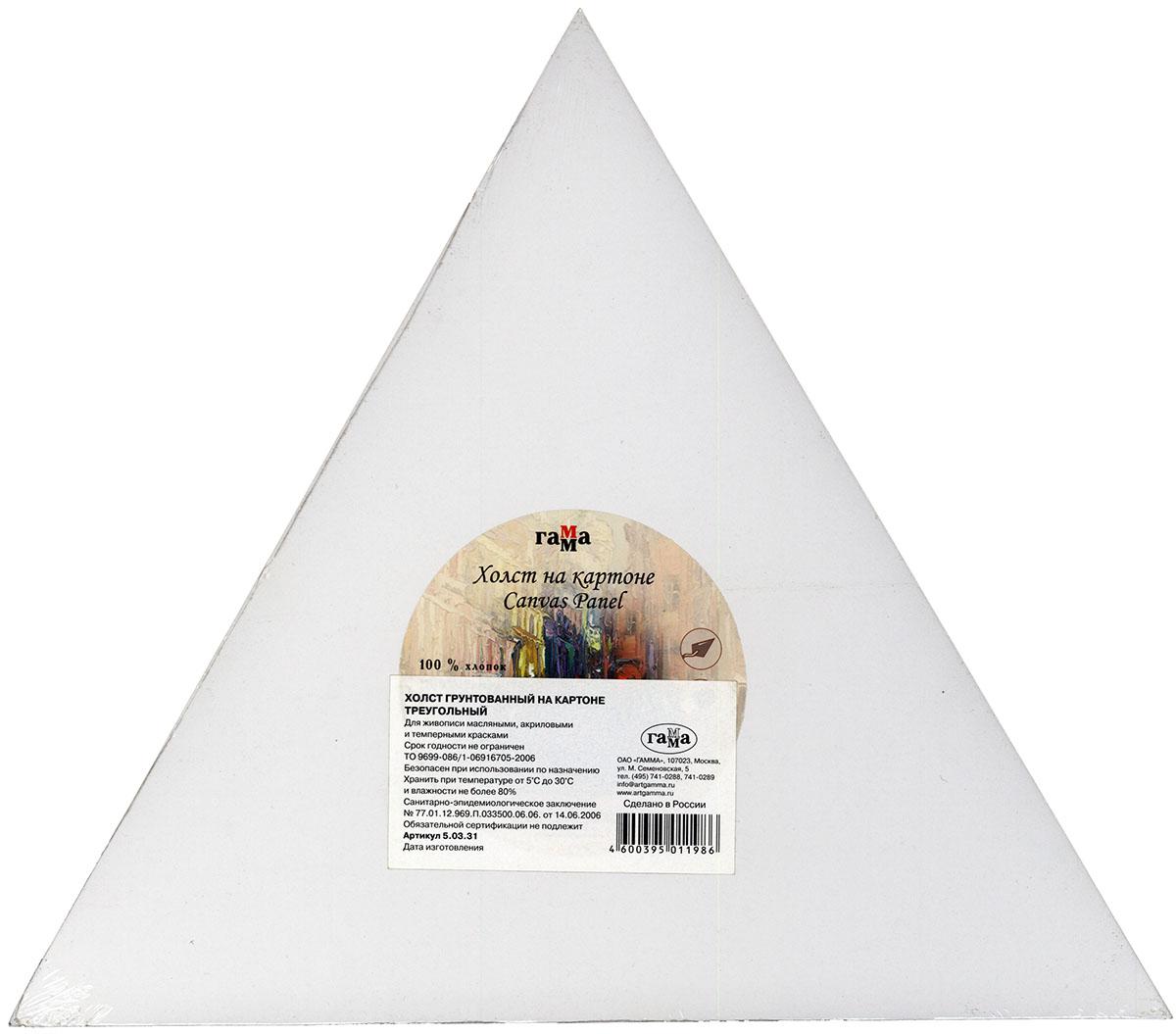 Холст на картоне 40,5см треугольный хлопок среднее зерно