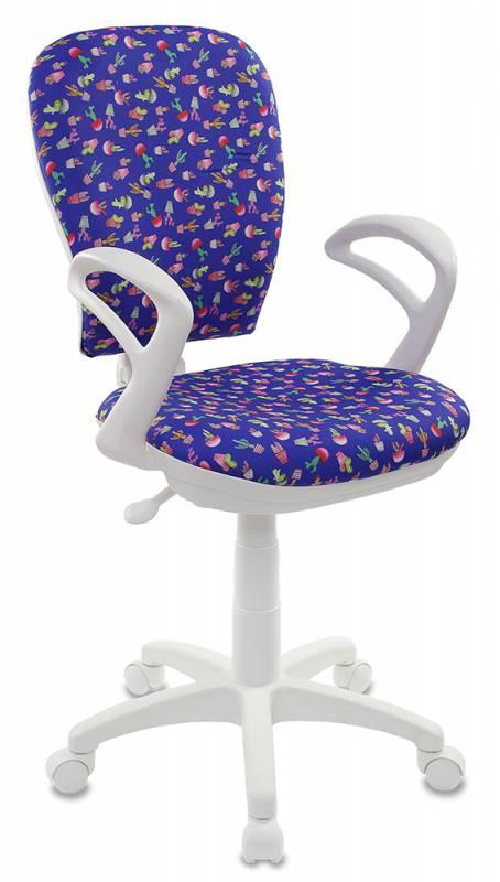 Кресло детское Бюрократ CH-W513AXN/CFCNUS-DL кактусы синий