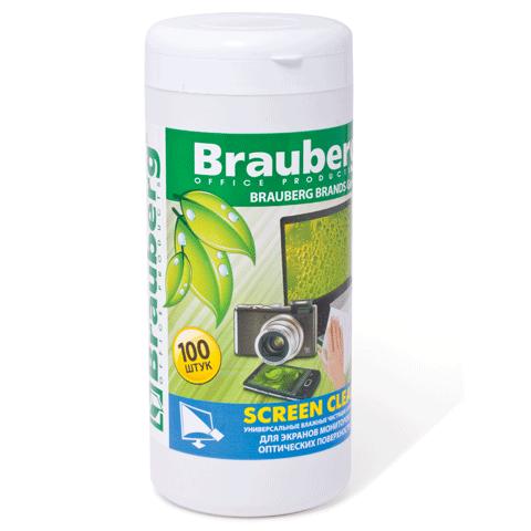 "Салфетки Brauberg ""Scree Clean"" в тубе 100шт. влажн. д/жк."