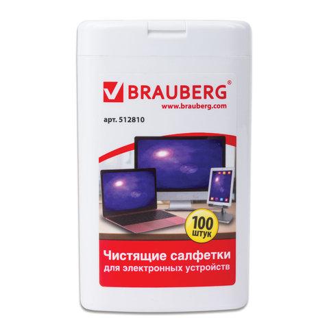 Салфетки Brauberg в тубе 100шт. влажн. д/ноутбуков