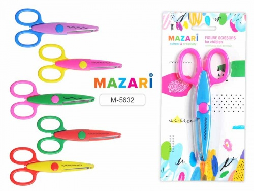 Ножницы дет. фигурные Mazari 135мм цветные