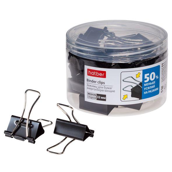 Зажим д/бум. Хатбер 32мм ENERGY SAVE черные 20шт в пластиковой тубе