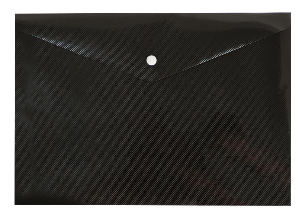 Папка конверт на кнопке Бюрократ А4 0,18мм DeLuxe черный