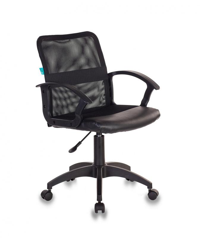 Кресло Бюрократ CH-590/BLACK сетка/кожзам черный