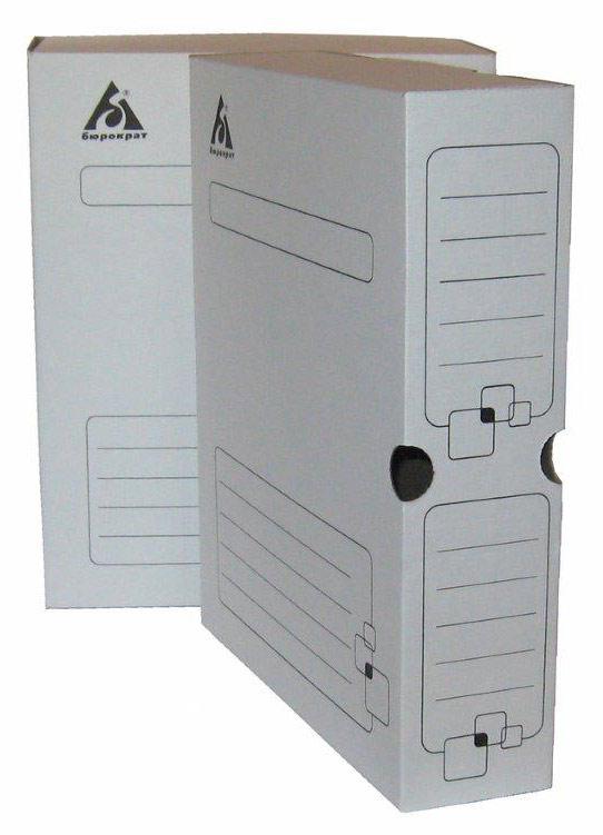 Короб архивный  75мм Бюрократ гофрокартон белый