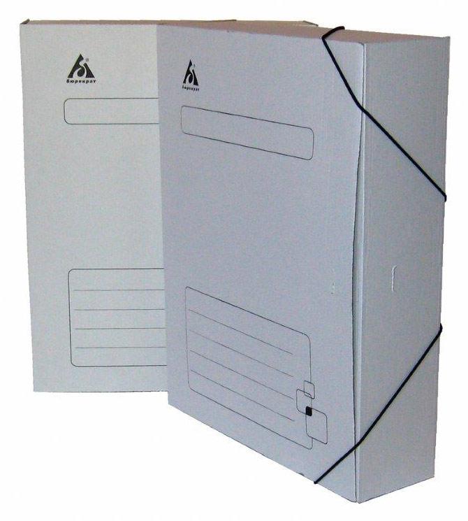 Короб архивный  75мм Бюрократ гофрокартон на резинке белый
