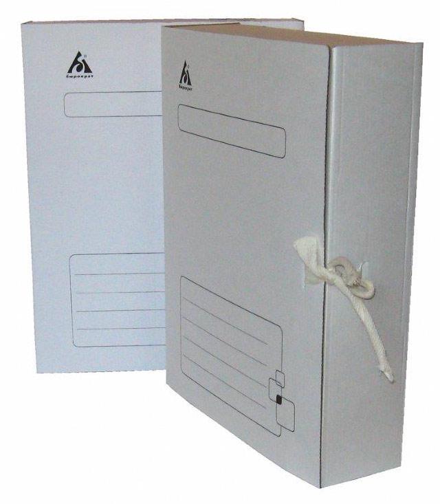 Короб архивный  75мм Бюрократ гофрокартон с завязками бел.