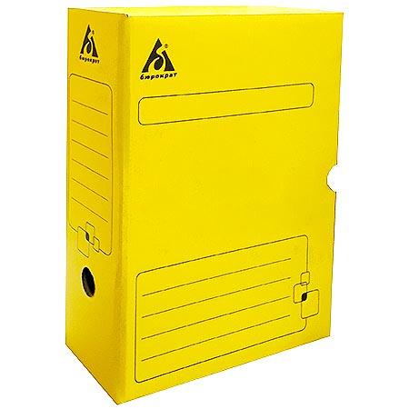 Короб архивный 100мм Бюрократ гофрокартон желтый
