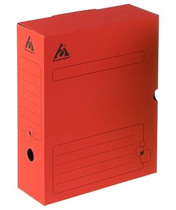Короб архивный 100мм Бюрократ гофрокартон красный
