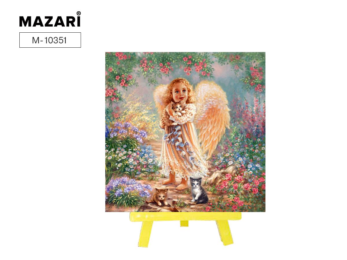 Алмазная мозаика с мольбертом 21*25см Ангелочек с котом