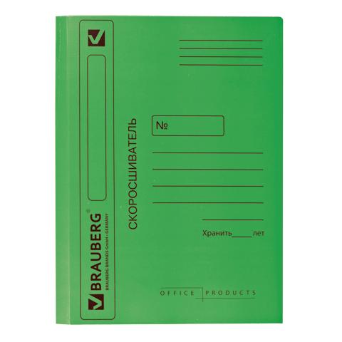 Скоросшиватель карт. Brauberg мел. 360г/м2 зеленый